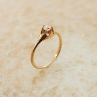 Antique Engagement Ring - 14k Yellow Gold with European Cut Diamond