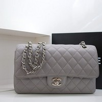 Chanel Grey Caviar Classic 2.55 Quilted Double Flap Bag: Chanel - CH-255DOUBLEFLAPCAV-GRY - Etui Maison