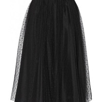 Dotted Mesh Pleated A-Line Midi Skirt