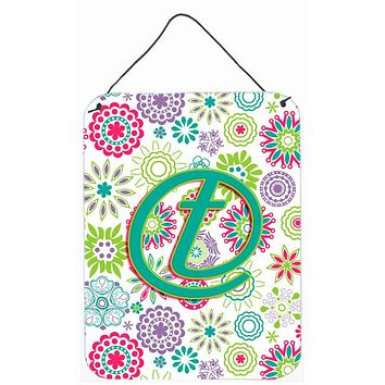 Letter T Flowers Pink Teal Green Initial Wall or Door Hanging Prints CJ2011-TDS1216