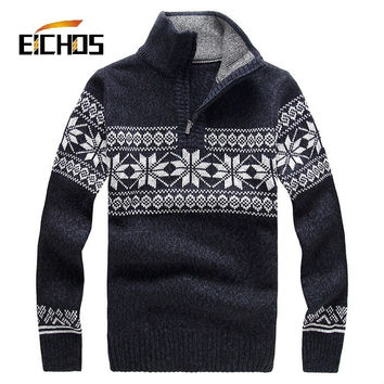 Jacquard Mens Sweaters 2015 New Fashion Thick High-necked Mens Jumpers Loose Pullovers Agasalho Masculino Woolen Mens Sweaters