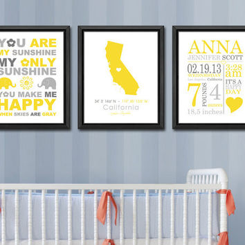 new baby announcement, personalized birth art print, custom birth stats, gift for new parents, baby birth print, baby birth details set of3