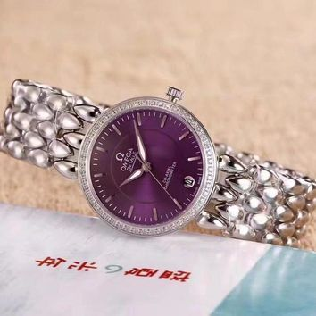 DCCK O041 Omega De Ville Fashion Simple Steel Strap Women Watches Purple