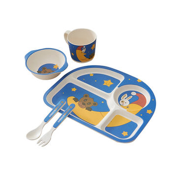Popular 5Pcs/set Baby Feeding Set Kids Tableware Cartoon Plate Bowl Cup Forks Spoon Dinnerware Bamboo Fiber Food Container