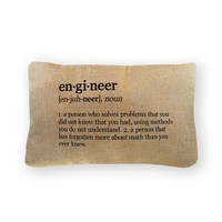 "Engineer Definition Pillow Cover  - Natural Color - Zipper Enclosure - 12""x18"""