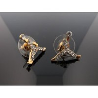 Michael Air Jordan Jumpman Gold Tone CZ Stud Hip Hop Bling Earrings