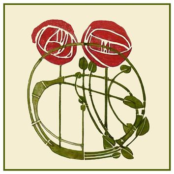 Charles Rennie Mackintosh's 2 Red Roses Flowers Counted Cross Stitch Pattern