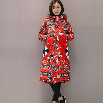 Winter Women Jacket 2017 New Woman Hooded Warm long Cotton Coat Anime Printed Slim Large size Basic Jackets Female Basic Parkas