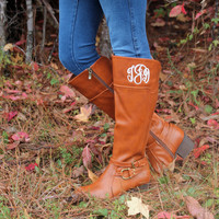 Monogrammed Riding Boots - Rusty Sienna