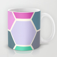 Colorful Hexagon Mug -  Coffee Mug - Original Art - Coffee Cup - Original Art - 11 oz Mug - 15 oz Mug - Made to Order