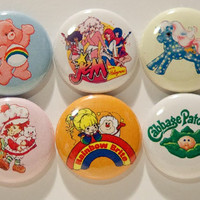 "Set of 6 80's Cartoon 1"" Pinback Buttons (Set #1)"