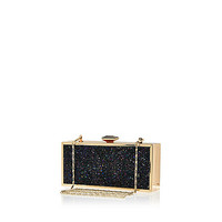 Black glittery box clutch - clutch bags - bags / purses - women