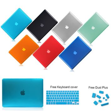 Crystal PC For Macbook Air Pro Retina 11 13 15 Case New 12 Laptops Sleeve Cover For Macbook Air 13 Case Keyboard Cover Dust Plug