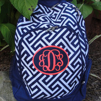 Sale Navy and White Greek Key Monogrammed Backpack Tennis BAg with patch applique