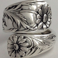 Size 8.5 Vintage Sterling Silver Flower Spoon Ring