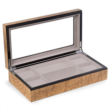 """Lacquered """"Burl"""" Wood Valet / Jewelry Box with Glass Top"""