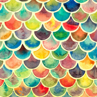 Rainbow Scales Print - Archival Quality Watercolor Giclee