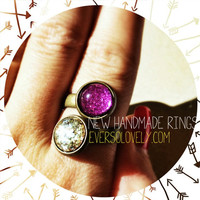 Metallic Pink and Gold Stone Ring - summer nights and shooting stars
