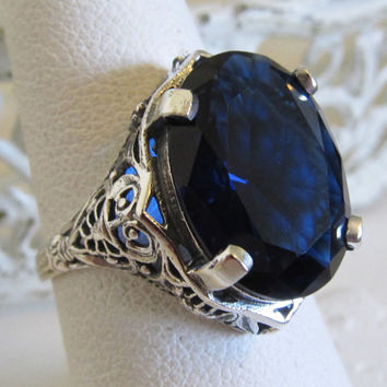 Beautiful 7 Carat Sapphire Filigree Statement Ring Sterling Silver Sz 7/ Antique Vintage Art Deco Nouveau Victorian Edwardian