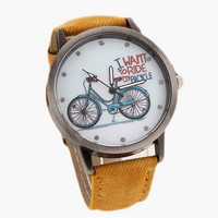 Womens Bicycle Print Dial Denim Strap Watches Girls Casual Sports Watch Best Christmas Gift