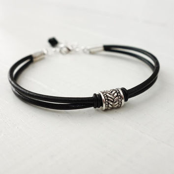 Black leather bracelet metal bead leather cuff unisex men women