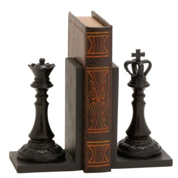 Chess Pieces King and Queens Bookends (Pair of)