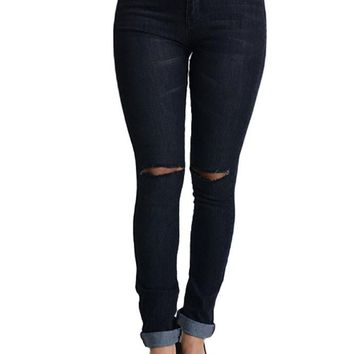 High Waisted Ripped Skinny Fit Jeans RJH376 - J13C