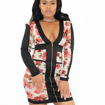 Too Much Temptation Floral BodyCon Dress