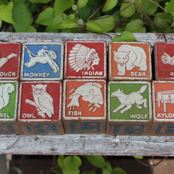 10 vintage ABC wooden blocks, vintage wooden children's blocks, vintage educational toys, wooden alphabet blocks, 1940 children's wood toys