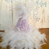 Birthday Party Hat for Baby, Toddler, and Children. Purple, Feathers, first birthday