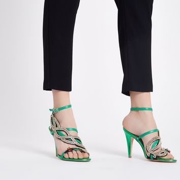Green rhinestone snake strappy sandals - Sandals - Shoes & Boots - women