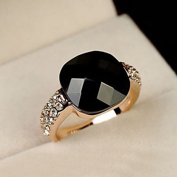 Black Semi-precious stone Wedding Rings for women CZ Diamond Jewelry Anel Rose Gold Plated Crystal rings female gift toq quality