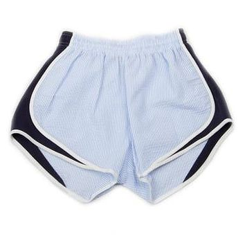 Shorties Shorts in Royal Blue Seersucker by Lauren James - FINAL SALE
