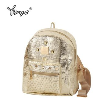 YBYT brand 2018 new casual women rivets rucksack preppy style girls small bookbags female shopping bags ladies travel backpacks