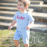 Boys Blue and white  Monogrammed Romper