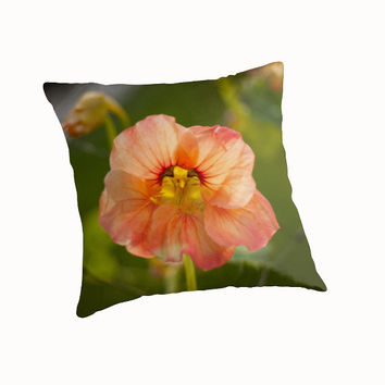 Nasturtium Flower Throw Pillow, Flower Pillow, Nature Pillow, Photo Throw Pillow, Decorative Pillow, Square Pillow, Unique Pillow Art Pillow