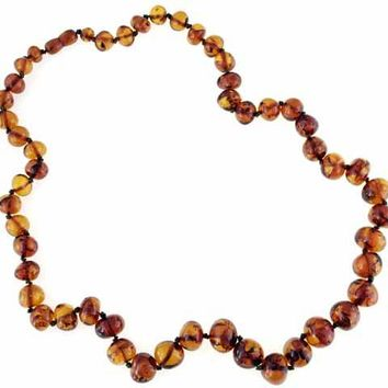 Vintage Genuine Amber Beads Round  Necklace Unique Sun Spangles 31""