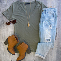 Jenna Basic Top - Olive