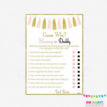 Mommy or Daddy Game, He Said She Said Baby Shower Game Girl, Pink Gold Baby Shower Games, Instant Download, Printable Sign Included TASPG