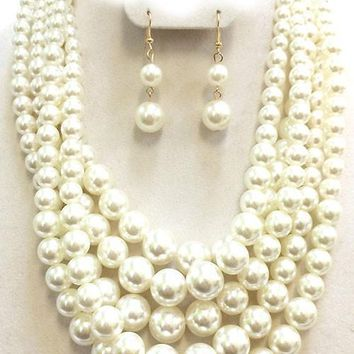 "19"" cream faux pearl multi layered 5 strand necklace 1.50"" earrings"