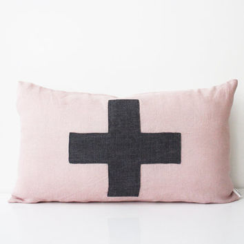 Pale Pink pillow cover 12x20 Swiss cross Throw pillow Plus sign Decorative Pillow