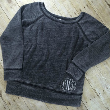 Monogram Off Shoulder Sweatshirt | Hip Monogram Sweatshirt | Monogrammed Sweatshirt | Monogram One Shoulder Sweatshirt