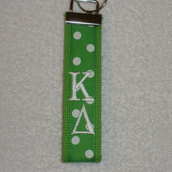 Kappa Delta Sorority (OFFICIAL LICENSED PRODUCT) Monogrammed Key Fob Keychain Cotton Webbing Ribbon Wristlet