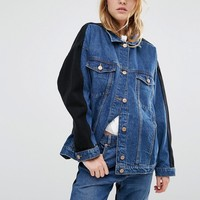 Monki Denim Oversized Colour Block Denim Jacket