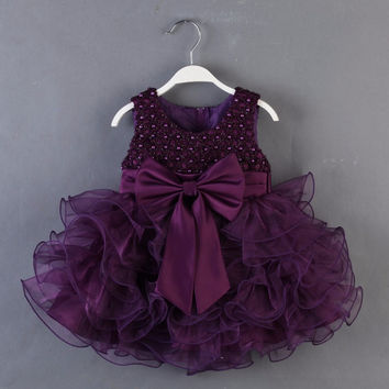 2016 New Arrival First Communion Dresses For Girl Eggplant Purple Flower Girls Dress Beading Bodice Organza Ruffled