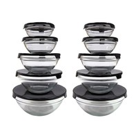 10-piece Nesting Glass Bowl Set with Black Lids (2 Sets of 10) | Overstock.com Shopping - The Best Deals on Bowls & Colanders