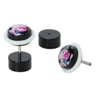 Pink Roses Faux Plug Earrings