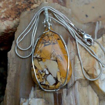 Brecciated Mookaite Jasper pendant pear shape stone silver wire wrapped with a silver plated necklace