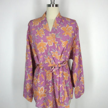 Silk Kimono / Festival Jacket / Hand Made Vintage Indian Sari / Purple Orange Floral Print / Silver Embroidery / Limited Edition