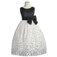 Sweet Kids Girls Black Dot Taffeta Flower Girl Pageant Dress 3T